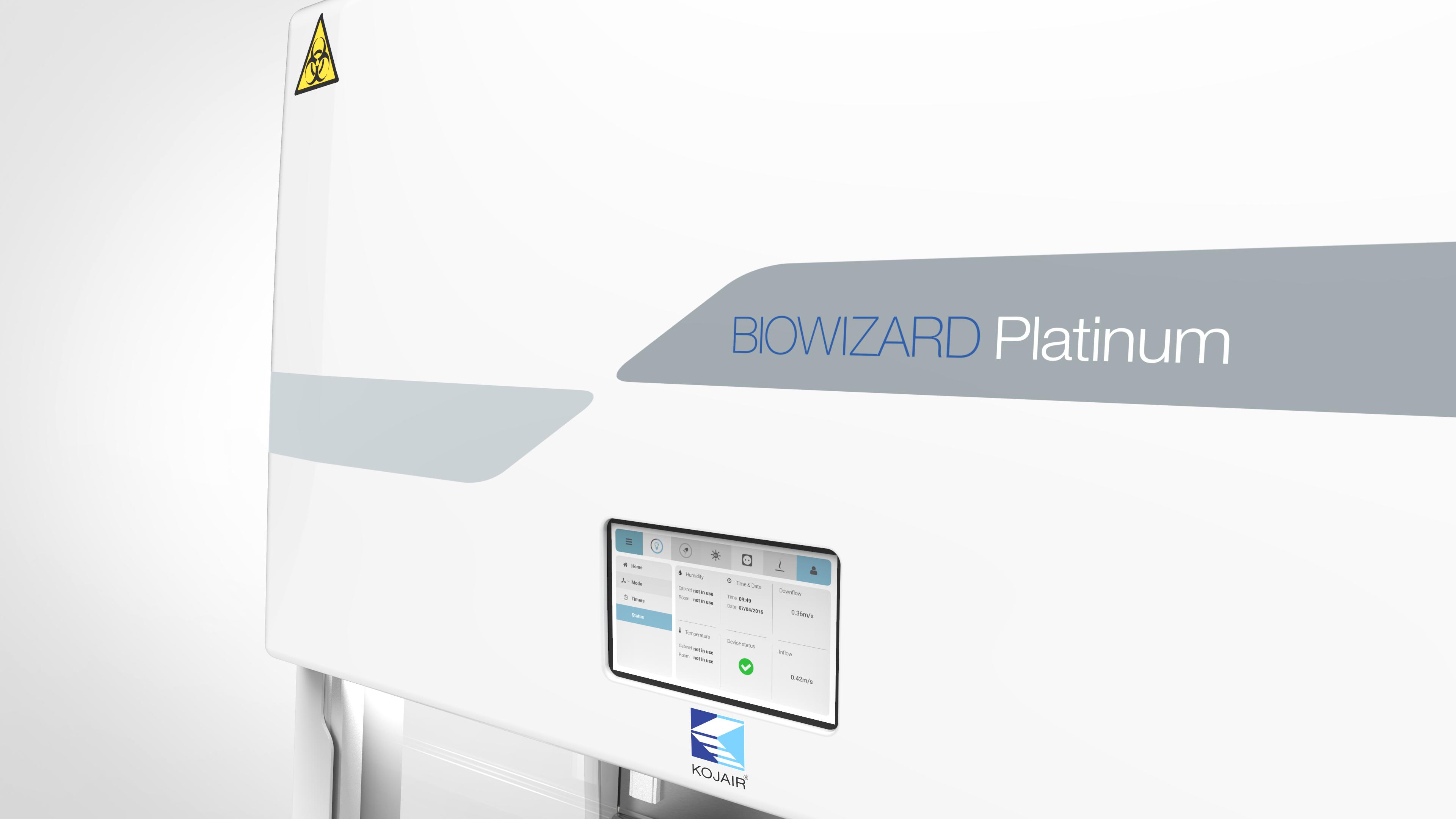 Platinum biosafety cabinet user interface