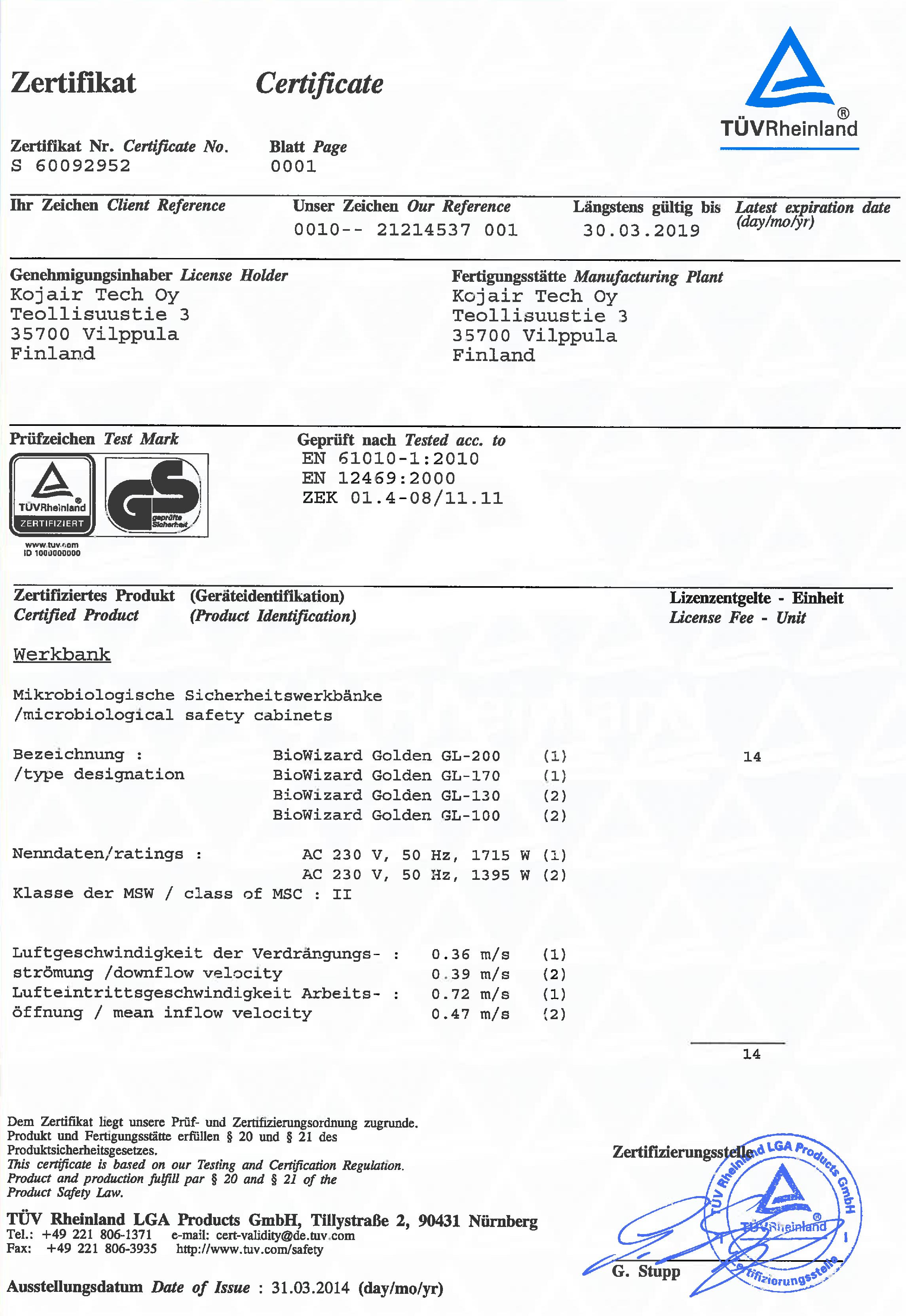 TÜV Certificate Kojair Golden Line Ergosilence
